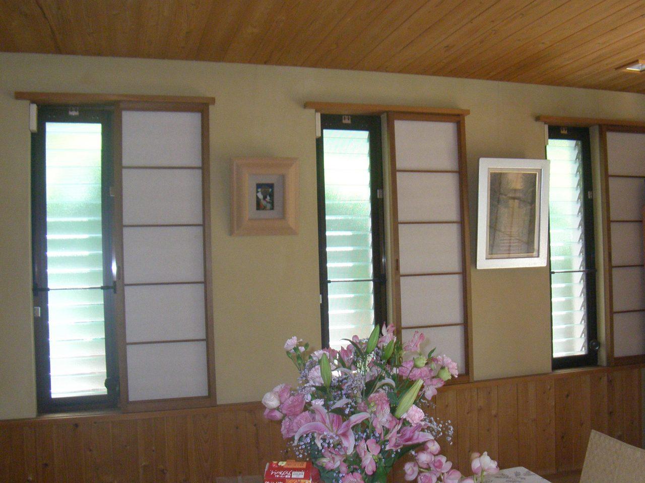 大阪南部-個人宅ジャロジー窓用固定網戸